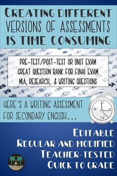 This quality, teacher-tested and modified assessment will save you time and give you an accurate picture of students' basic understanding of research and writing skills. Use as a pre-post test, a unit test, or as part of a final exam.