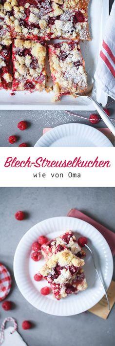 Rezept für Streuselkuchen vom Blech mit Himbeeren und Rhabarber (oder anderem Obst) / streusel sheet cake recipe / raspberry rhubarb streusel cake / www.zuckerzimtundliebe.de