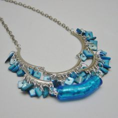 Turquoise Glass and Shell Beaded Silver by delaMarCollection, $48.00