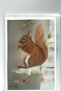Grüße - Grußkarte - Eichhörnchen, handgemalt - ein Designerstück von…
