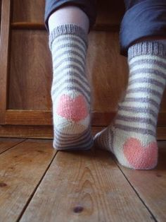 Love heart socks (does not link to pattern)
