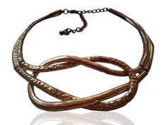 Vintage Metal Choker Necklace  Gold tone Textured Collar by GoldDa, $43.00