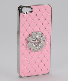 COWGIRL GLAM CELL CASE Crystal Silver Concho on Rhinestone Studded RUBBER Pink Western Ipone 5 Cell Phone Case