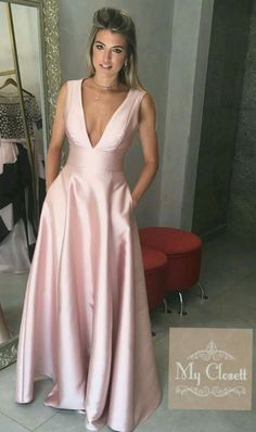 Elegant Prom Dresses, Simple Pink Satin V Neck Prom Dresses Long A-line Evening Dresses Formal Gowns with Pocket for Teens Girls Sweater Dresses UK Prom Dresses With Pockets, Elegant Prom Dresses, Pink Prom Dresses, Backless Prom Dresses, A Line Prom Dresses, Formal Evening Dresses, Formal Gowns, Homecoming Dresses, Beautiful Dresses