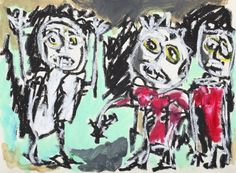 """This original work titled """"Triumvirate 001"""" is 42x30 cm in oil stick & acrylic on paper (90 gr.). It was made in June 2016 in Spain and is signed and dated on the back. It will ship carefully rolle..."""
