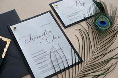 black wedding invitations, miodunka papeteria, zaproszenie na kalce, złoty nit, kaligrafia, Wedding Stationery, Wedding Invitations, Wedding Invitation