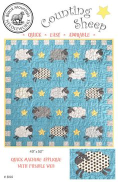 Counting Sheep quilt pattern by Black Mountain Needleworks. Large, simple applique. Adorable!