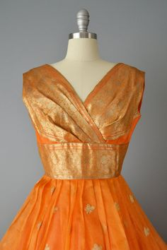 Vintage 60s Orange Indian Sari Party Dress by OffBroadwayVintage