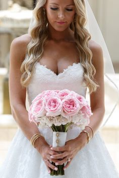 Pink rose and hydrangeas bouquet by Design House Weddings.