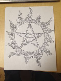 Anti possession star w/supernatural quotes! Supernatural Quotes, Supernatural Fandom, Demon Trap, New Actors, Destiel, Superwholock, Best Shows Ever, Spirit Animal, Nerdy