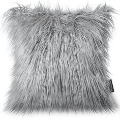 "Phantoscope Decorative New Luxury Series Merino Style Grey Faux Fur Throw Pillow Case Cushion Cover 18"" x 18"" 45cm x 45cm - Walmart.com"