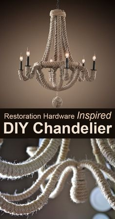 DIY Chandelier Makeovers - Restoration hardware Inspired Chandelier Makeover - Easy Ideas for Old Brass, Crystal and Ugly Gold Chandelier Makeover - Cool Before and After Projects for Chandeliers - Farmhouse, Shabby Chic and Vintage Home Decor on A Budget Shabby Chic Decor, Diy Dining Room, Chandelier Makeover, Chic Decor, Restoration Hardware Inspired, Rope Chandelier, Shabby Chic Furniture, Chandelier, Diy Chandelier
