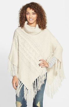 Woven Heart Cable Knit Cowl Neck Poncho (Juniors) on shopstyle.co.uk