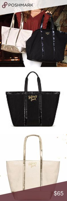 """Victoria's Secret Sparkle Tote and Weekender Bags Victoria's Secret Sparkle Tote and Weekender Bags NWT • Tote: 11.81"""" x 6.69 """" x 13.39 Weekender: 15.06 """" x 7.09 """" x 14.35"""" - 100% Cotton Canvas. I will also throw in a Free $20 Holiday Reward card (Coupon is good for $20 off a $40 purchase, Valid Nov 30- Dec 15th) Victoria's Secret Bags Travel Bags"""