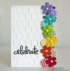flower rainbow card by Stacy Cohen Handmade Birthday Cards, Happy Birthday Cards, Greeting Cards Handmade, Cool Cards, Diy Cards, Washi Tape Cards, Rainbow Card, Embossed Cards, Flower Cards