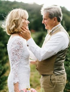 Real brides: What to wear if you're an older bride Wedding Dresses Photos, Bridal Wedding Dresses, White Wedding Dresses, Wedding Hair, 2nd Marriage Wedding Dress, Wedding Couples, Older Bride Dresses, Champagne Lace Dresses, Lauren Jackson