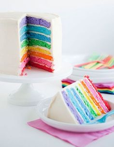 A rainbow cake is fun to look at and eat and a lot easier to make than you might think. Here's a step-by-step guide for how to make a rainbow birthday cake. Rainbow Wedding, Rainbow Birthday, Buttercream Wedding Cake, Buttercream Frosting, White Buttercream, White Icing, Cake Original, Rainbow Food, Cake Rainbow