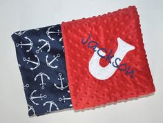 Monogrammed chevron baby blanket minky blanket coral peach baby nautical baby blanket minky monogrammed blanket navy blue red and white anchors personalized blanket with name newborn negle Choice Image