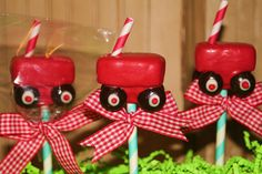 Moms Killer Cakes & Cookies Original Design Vintage Style Little Red Wagon Cake Pops Personalization Available via Etsy Cake Cookies, Cupcake Cakes, Baby Cakes, Cupcake Recipes, 1st Birthday Parties, Boy Birthday, Red Wagon Party, Halloween Cake Pops, Little Red Wagon