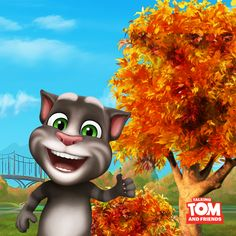 I see Talking Tom also loves autumn, or should I rather say … leaves? xo, Talking Angela #TalkingAngela #MyTalkingAngela #TalkingTom #LittleKitties #autumn #fall