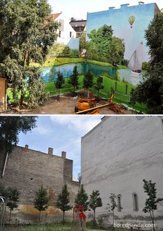 Incredible Before & After Street Art Transformations Topart, Budapest, Hungary (before-after-street-art-boring-wall-transformation).Topart, Budapest, Hungary (before-after-street-art-boring-wall-transformation). 3d Street Art, Murals Street Art, Street Art Graffiti, Amazing Street Art, Street Artists, Amazing Art, Graffiti Artists, Banksy, Art Rupestre