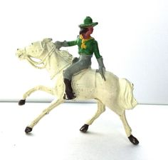 VINTAGE BRITAINS JOHILCO LEAD TOY WILD WEST MOUNTED COWGIRL WHITE HORSE