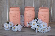 Peach shabby chic mason jars