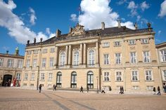 Amalienborg Palace in Copenhagen, Denmark.  Visited in the mid-1990s.