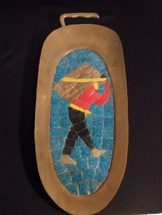 "1930s 1940s Salvador Teran Brass and Mosaic Wall Hanging-14"" long-Arts and Craft-Mexican-Hand Made-Handmade-Mosaic Tile"
