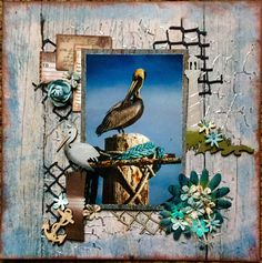 Scraps of Darkness scrapbook kits: Michelle Phillips created this beautiful beach / pelican layout with our May 2016 Scraps Of Darkness kit 'Soulshine'. Subscribe to our kits and have a new box of mixed media scrapbooking fun delivered to you each month! www.scrapsofdarkness.com
