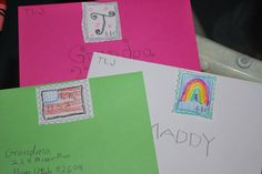Great idea, teaching kids to write letters and send mail, summer workbox