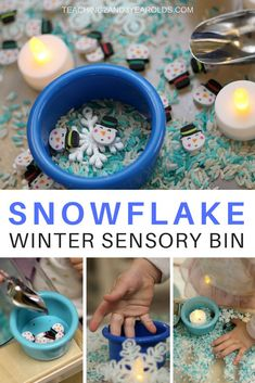 This winter sensory bin is loaded with dyed rice, various sized snowflakes, small snowmen and scoops. But what makes it most fun are the flickering tea light candles! A great way to build fine motor skills during your winter theme. Winter Activities For Toddlers, Snow Activities, Sensory Activities, Kindergarten Activities, Preschool Activities, Preschool Winter, Motor Activities, Educational Activities, Preschool Books