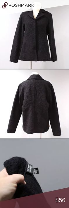 "Eileen Fisher Wool Blazer Womens Size L Black • Tagged size large • Measures approx: 27"" Shoulder to Hem and 21"" Armpit to Armpit measured flat.  • Magnetic closure  • 62% Virgin Wool, 20% Cotton, 13% Mohair, 5% Nylon • No flaws to note.  • all products in our shop come to us second hand and may be new or used. We do launder most items and will note if we have not. We do our best to photograph and note any flaws we see. Our home is smoke free. Please contact us with any questions. Eileen…"