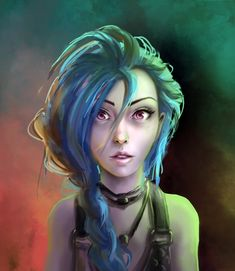 Here is Jinx, marksman from League of Legends. I didn't give ther that crazy look, but I just love her face!