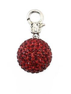 Damen Charm Anhänger Kugel Strass, rot von Fashion Jewelry bei www.meinkleidchen.de