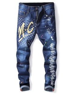 Zipper Fly Letter and Fire Paint Jeans Ripped Jeans Men, Boys Jeans, Jeans Pants, High Fashion Men, Mens Fashion, Streetwear Jeans, Fire Painting, Painted Jeans, Jeans For Sale