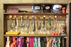 Inspiration to organize and display your lovely jewelry by using decorative cabinet knobs.