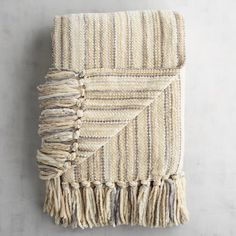 Neutral Streamers Chenille Throw Ivory