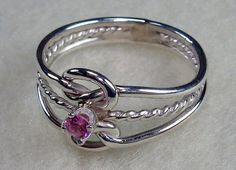 Double Celtic Love Knot Ring with Twisty in All Argentium Silver with 4mm Rose Zircon Cubic Zirconia CZ Birthstone  $45