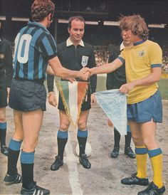 4th June 1971. Inter Milan captain Sandro Mazzola and his opposite number for Crystal Palace Steve Kember meeting in Milan, for the Anglo-Italian Cup Group match. Unbelievably Palace won 2-1.