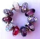 10 Authentic Pandora 925 ale silver beads charm glass murano purple flower m
