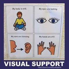 Visual Prompts, Visual Schedules and Visual Supports for Children with Special Needs: Classroom Adaptations for Visual Learners via RainbowsWithinReach Student Behavior, Classroom Behavior, Classroom Rules, Autism Classroom, Preschool Classroom, Classroom Organization, Classroom Management, Classroom Ideas, Behavior Management