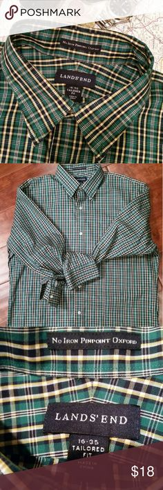 Men's Lands' End Pinpoint Oxford Shirt, 16-35 A beautiful shirt in EUC. 16-35 Tailored Fit Lands' End No Iron Pinpoint Oxford Shirt in a lively Kelly green, navy, and yellow plaid. Made of 100% Supima cotton, this shirt will keep you cool in the Summer and warm in the Winter when layered with a tee or under a cardigan. Can be dressed up with a tie for work or dressed down for a casual weekend lunch date. It would also be perfect for the upcoming holidays! Smoke-free and pet-free household…