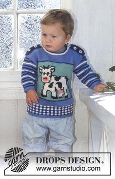 Baby - Free knitting patterns and crochet patterns by DROPS Design Baby Knitting Patterns, Baby Sweater Knitting Pattern, Baby Patterns, Crochet Patterns, Intarsia Knitting, Free Knitting, Drops Design, Granny Stripes, Cardigan Bebe