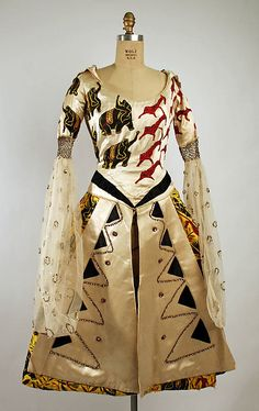 Beaded and sequined silk satin fancy dress costume, by Leon Bakst (animal textile by Raoul Dufy) for Henri Bendel, American, 1919.