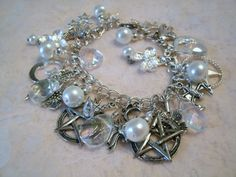 Moonlight Crystal Pentacle Charm Bracelet, wiccan jewelry pagan jewelry witchcraft gypsy witch metaphysical new age wicca magic pentagram