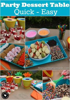 This Party Dessert Table is filled with fun for all ages! Cupcake Fondue, S'Mores Bar, No Bake Cheesecake and more! Be sure to save by pinning to your Party Board!