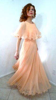 SALE Vintage 50s Dress Pink Peach Chiffon Miss by KMalinkaVintage, $185.00