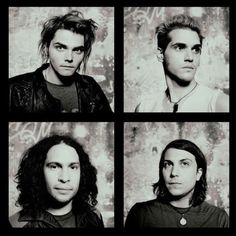 Gerard Way, Mikey Way, Ray Toro, Frank Iero. My Chemical Romance ♥ Emo Bands, Music Bands, My Chemical Romance, Music Stuff, My Music, Bob Bryar, Ray Toro, Mikey Way, Black Parade