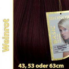Clip-in Haar Extensions Haarverlängerung mit Echthaar, Weinrot, 40 50 60 cm, BASIC von BIONORA